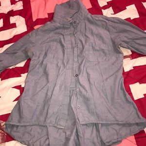 High low denim button down shirt